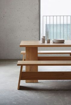 Excellent Minimalist DIY Wooden Furniture That Will Enhanced Your Living Room David Chipperfield creates simple furniture from wooden planks Simple Furniture, Minimalist Furniture, Minimalist Decor, Wooden Furniture, Furniture Design, Furniture Showroom, Outdoor Furniture, Minimalist Interior, Chair Design