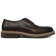 Zapato blucher liso en color marrón de Paco Milan vista lateral