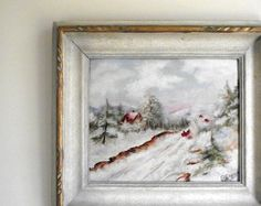 Original oil painting on canvas board in ornate wooden frame. Beautiful winter landscape, a typical Quebec or Vermont winter scene, done in a pastel