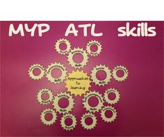 MYP approaches to learning (ATL) skills display idea on cogs Classroom Layout, Classroom Bulletin Boards, Classroom Design, Classroom Displays, Classroom Decor, Middle School Ela, Middle School Classroom, Class Decoration, School Decorations