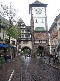 Freiburg clock tower, Breisgau, Baden-Württemberg, Germany. Photo by Steveandwhitney