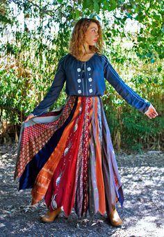 My Autumn Bohemian Tie Skirt by TavinShop on Etsy, $160.00
