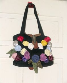 Christmas Gift  Black Bag Silk roses Hippie Chic by recyclingroom, $98.00