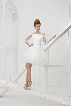 Collezione Vision 2014 - Elisabetta Polignano: abito da sposa bianco corto  #wedding #weddingdress #weddinggown #abitodasposa #minidress