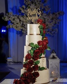 A towering fondant wedding cake with 5 tiers! Decorated with simple rose waterfall detailing and gold topper. Waterfall Cake, Fondant Wedding Cakes, Simple Rose, Favours, Special Occasion, Cooking Recipes, Table Decorations, Gold, Cooker Recipes