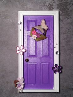 Purple and White Fairy Door by JessicaLeeEvans on Etsy