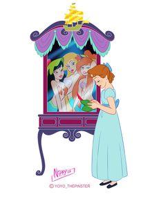 Mirror Princess-Wendy by on DeviantArt Peter Pan Mermaids, Peter Pan And Tinkerbell, Peter Pan Disney, Tinkerbell Movies, Disney Movies, Disney Characters, Disney Princesses, Disney Stuff, Disney Tattoos