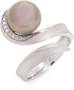 Tara Pearls Women's 18K Gold Tahitian Pearl & Diamond Ring
