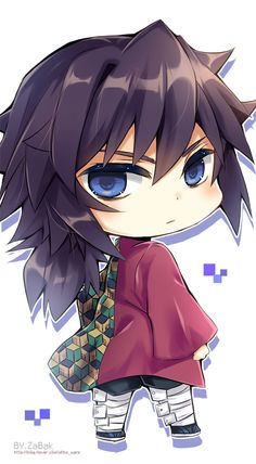 Demon Slayer: Kimetsu no Yaiba, SD, Giyu Tomioka / Giyuu - pixiv Kawaii Chibi, Cute Chibi, Anime Chibi, Manga Anime, Anime Naruto, Bff Drawings, Kawaii Drawings, Demon Slayer, Slayer Anime