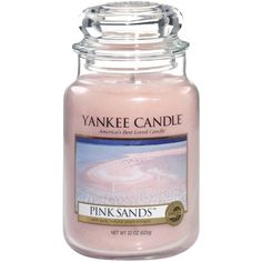 Yankee Candle Large Pink Sands Jar Candle ($29) ❤ liked on Polyvore featuring home, home decor, candles & candleholders, fillers, candles, other, accessories, scented candles, pink candles and vanilla candle