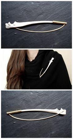"""""""BoW"""" brooch //materials_bronze, bone// info@geopapadimitriou.com"""