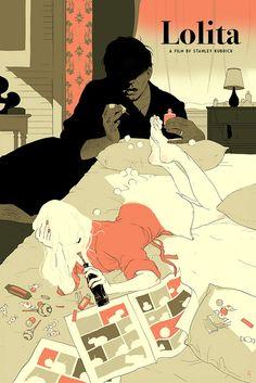 Tomer Hanuka's film poster for Stanley Kubrick's Lolita Stanley Kubrick, Tomer Hanuka, Lolita Movie, Lolita 1997, Girls Anime, Alternative Movie Posters, Alternative Art, Movie Poster Art, Pulp Fiction