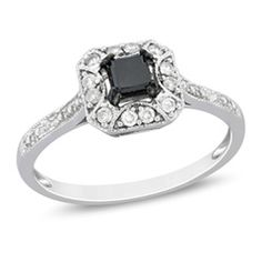 3/5 CT. T.W. Enhanced Black and White Diamond Square Framed Ring in 10K White Gold