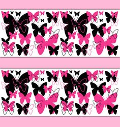 HOT PINK BUTTERFLY Border Decal Wall Art Teen Girls Stickers Room Decor Baby Nursery Childrens Abstract Modern Art Silhouette Bedroom #decampstudios