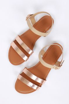 a36426581558  18.99 Making Strides Strappy Sandal Rose Gold Gold Strappy Sandals