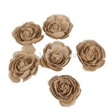 6 pcs serapilheira Hessian Rose flores casamento rústico artesanato fazer Decor frete grátis(China (Mainland))