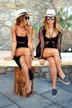 Cute beach babes rocking black sexy swimsuits for beach boho chic fashion look.