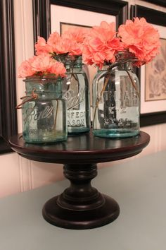love the blue tint with the blush flowers . . . also mason jars