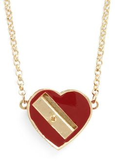 Love to Draw Necklace - Red, Gold, Solid, Casual