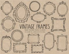 frames and borders Hand drawn doodle vintage digital frames. This cute frame set includes 15 retro inspired designs - curly, ornate and elegant. These delicate frame illusrations w Doodle Frames, Vintage Borders, Vintage Inspiriert, Drawing Frames, Doodles, Cute Frames, Vintage Scrapbook, Marianne Design, Vintage Frames