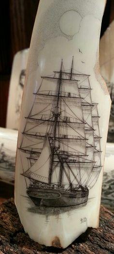 Scrimshaw ship  Photo By W Hammond