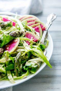 Shaved Asparagus, Arugula Quinoa Salad with Lemon Poppy seed Dressing   Vegan + GF   Vanilla And Bean