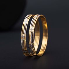 Plain Gold Bangles jewellery for Women by jewelegance. ✔ Certified Hallmark Premium Gold Jewellery At Best Price Gold Chain Design, Gold Bangles Design, Gold Jewellery Design, Diamond Jewellery, Fancy Jewellery, Trendy Jewelry, Diamond Studs, Plain Gold Bangles, Gold Bangles For Women