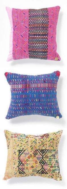 cool, embroidered pillows - created from Guatemalan huipil