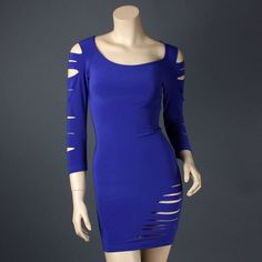 Royal Blue Party Fitted Long Sleeve Cut Out Clubwear New Mini Dress