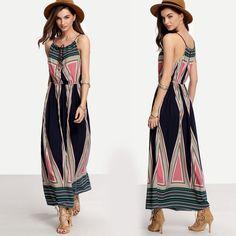 Summer Boho Long Maxi Dress Beach Sundress striped ankle-length