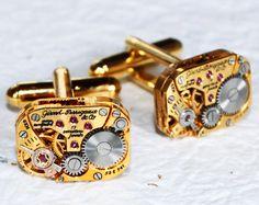 GIRARD PERREGAUX Steampunk Cufflinks - RARE Luxury Swiss Gold Vintage Watch Movement - Matching Men Steampunk Cufflinks / Cuff Links Gift. $130.00, via Etsy.