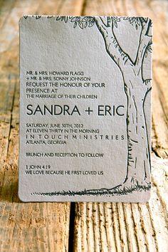 tree letterpress wedding invitation - woodland - folk - indie - luxe