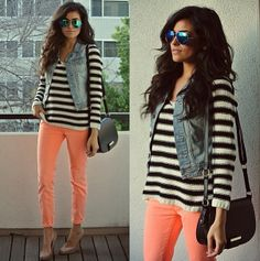 striped shirt/sweater and jean vest