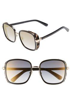 11aa6fa4f2408 Elva 54mm Square Sunglasses, Main, color, Black  Gold  Leopard Sunglass  Frames