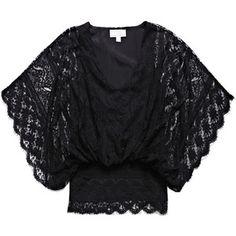 Beyond Vintage Dolman-sleeve lace blouse
