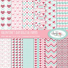 Valentine digital paper - Mygrafico.com Valentine digital paper set comes with 12 digital scrapbook papers featuring intricate damask patterns made of hearts and botanical elements, heart patterns, Valentine's Day calligraphy patterns, gingham, chevron, lattice and polka dot designs. The papers come in a gorgeous color combo of bubble gum pink, aqua and red.