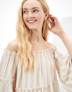 AE Bell-Sleeve Off-The-Shoulder Top Off Shoulder Blouse, Off The Shoulder, American Eagle Outfitters, Cute Tops, Bell Sleeves, Shirts, Color, Touch, Women