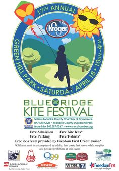 Blue Ridge Kite Festival Saturday, April 18 See why kite enthusiasts from throughout the East Coast travel to Green Hill Park every year for this FREE event. Bring your kite and lawn chair as you enjoy a day of outdoor fun. The Richmond Air Force Kite Club will be there for live demonstrations. Free kids kite & event shirts available while supplies last.