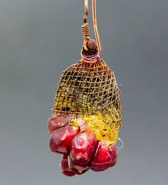 SINGLE Asymmetrical Very Organic Pomegranate Earring from Earring A Day Challenge 2015 35/365