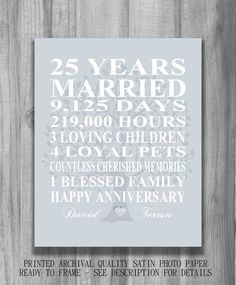 25th Wedding Anniversary Gift Silver Print Personalized Family Tree Pas Dates Marriage Subway Sign Custom