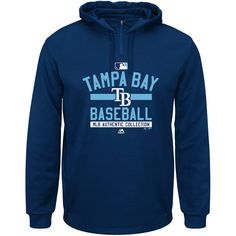 Tampa Bay Rays Majestic AC Team Property On-Field Solid Therma Base Hoodie - Navy - $52.99