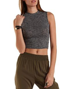 Sleeveless Mock Neck Crop Top: Charlotte Russe