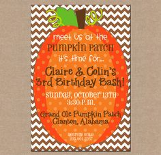 Pumpkin birthday invitation pumpkin first birthday invitation fall boy or girl pumpkin patch fall halloween birthday party chevron invitation digital file filmwisefo