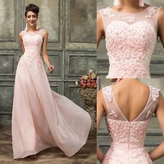 2017 New Long Evening LACE Floral Prom Ball Gown Bridal Wedding Bridesmaid Dress
