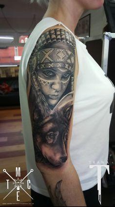 native american tattoo , wolf tattoo