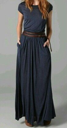 Maxi Tee Dress Comfy and Casual yet sophisticated. short sleeves and pockets, I'm in! I love dresses with pockets! LOOKS JUST GORGEOUS! (Love the skinny brown belt! Tee Dress, Dress Me Up, Dress Skirt, Belted Dress, Looks Style, My Style, Mode Simple, Look Fashion, Womens Fashion