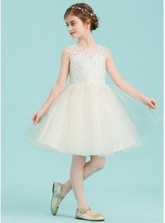 3f95945aa8e A-Line Princess Knee-length Flower Girl Dress - Tulle Lace Sleeveless