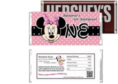 Pink Minnie Mouse Birthday Candy Bar Wrappers Party Favors