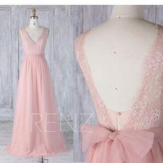 Bridesmaid Dress Blush Pink Lace V Neckline Tulle Wedding