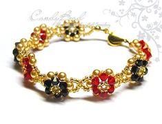 Swarovski Bracelet, Classic Red and Black Swarovski Crystal and Pearl Bracelet with Gold Clasp by CandyBead (B039-02)